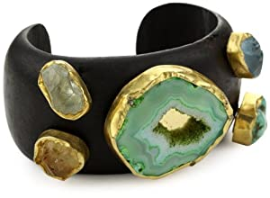 "Zariin ""Whispering Woods"" Multi-Colored Stones Wooden Cuff Bracelet"