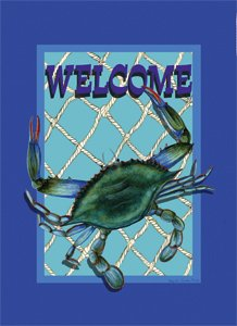 Maryland MD Blue Crab Net Beach Welcome Garden Flag