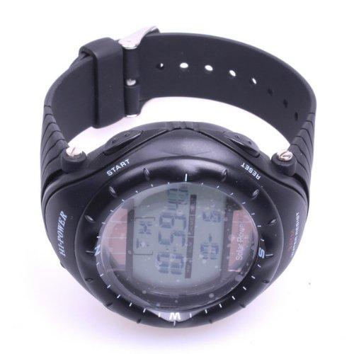 Bestdealusa Black Solar Powered Waterproof Digital Sports Watch