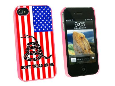 Graphics And More Gadsden Don'T Tread On Me Usa Flag - Tea Party - Snap On Hard Protective Case For Apple Iphone 4 4S - Pink - Carrying Case - Non-Retail Packaging - Pink