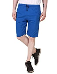 Aventura Outfitters Men's Single Jersey Shorts With Orange Stripes & Two White Piping (Royal Blue)