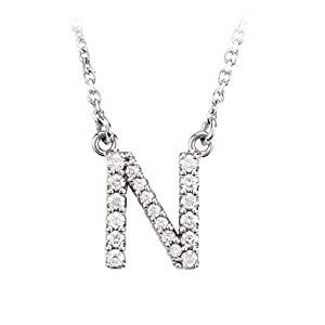 Diamond Initial Necklace in 14 Karat White Gold, Letter N