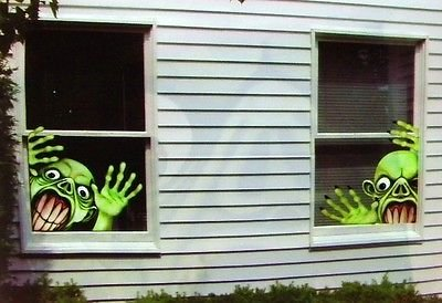 Halloween Window Cover 2 Green Monster Creepy Corner Creatures Decorations