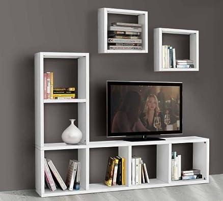 Porta tv libreria mobile soggiorno bianco frassinato 8 elementi