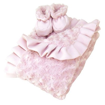 Luxe Blanket and Booties Gift Set Color: Pink