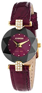 Jowissa Women's J5.013.S Facet Strass Gold PVD Dimensional Glass Maroon Leather Rhinestone Watch