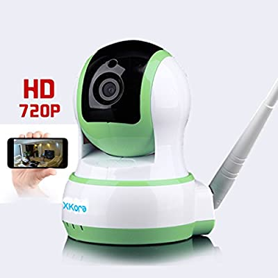 Xkora 720 HD Pan & Tilt WIFI/Network Wireless/Wired IP Camera with Night Vision,Surveillance , Video Record and Smart Motion Detection for Baby, Business, Home Security Via Remote Control (Green)
