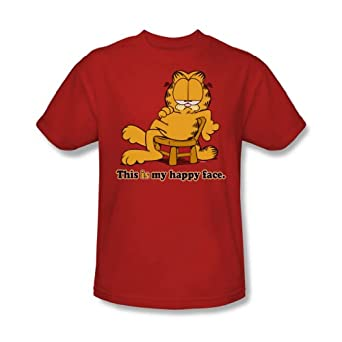 Garfield - - Adulte heureux T-shirt Face In Red, XXX-Large, Rouge
