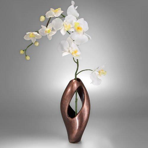 Nambe Pebble Twist Bud Vase with Orchid