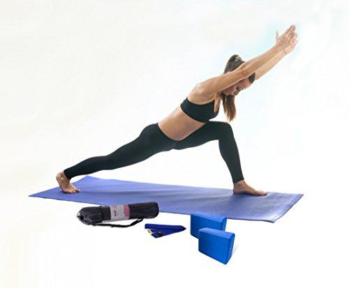Sivan Health & Fitness 5-Piece Essentials Yoga Beginners Kit, Blue
