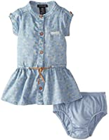Calvin Klein Baby Girls' Blue Denim Dress with Yellow Flowers Print
