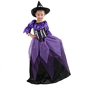 Rising-Sun Halloween Girls Dress Up Costume Party Props Supplies Sorcerer Witch Dress