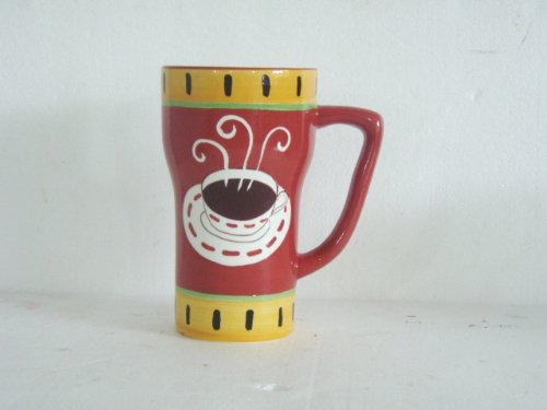 "Hand Painted Hot Coffee Fleur De Lis Red/Yellow Rim Ceramic Mug, 1-Piece 6-1/4""H, 80127 By Ack back-328305"