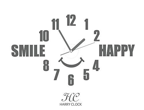 HARRY ウォールステッカー 時計付き 貼ってはがせる 転写式 笑顔の時計 (Smile happy) /グレー 約45cm×45cm