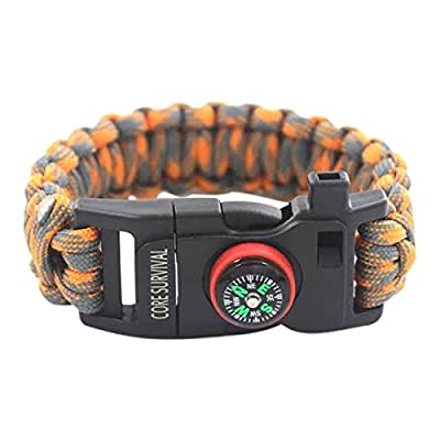 Paracord Survival Bracelet - A Great Hiking Multi Tool with Emergency Whistle, Compass for Hiking, and Camp Fire Starter! from Core Surivival