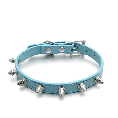 Puppy-league-Pu-Leather-Solid-Pattern-Single-Rows-Bullet-Nail-Studded-Dog-Collars-Chain-for-Pet-Dogs-Chihuahua-Blue-XS