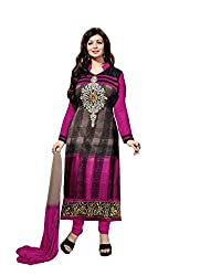 SANCHEY Womens Georgette, Satin Semi-stitched Salwar Suit Dupatta Material (Pink)