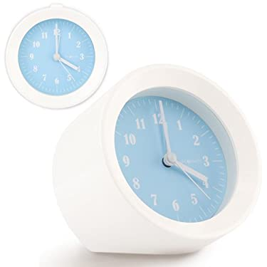 DecoMates Non-Ticking Silent Small Wall & Desk Alarm Clock - Mod (Baby Blue)