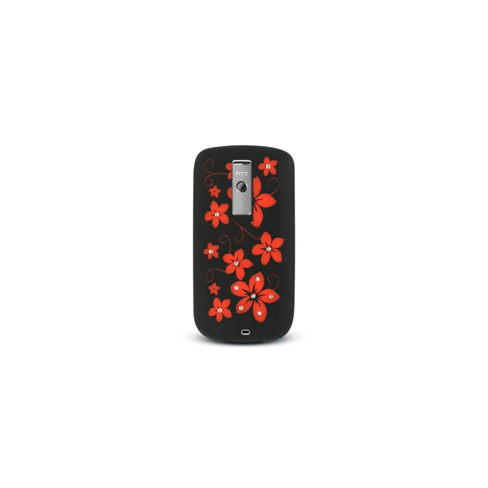 Red Flower with Diamond Rhinestone Soft Silicone Skin Gel Cover Case for Htc Mytouch 3g G2
