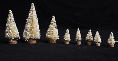 Miniature Assorted Size (Ranging From 1-1/2 to 4 Inches Tall) Off White Vintage Look Frosted Sisal Christmas Trees - Total of 24 (3 Packages of 8)