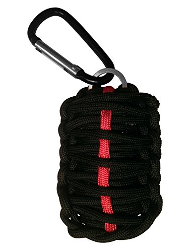 "Paracord ""Grenade"" Survival Kit By L.Ive A.Nother D.Ay - Fire Starter - Knife - Carabiner - Emergency - Hunting - Camping - Fishing - Hiking - Backpacking - Keychain - With Money Back Guarantee! Makes A Great Gift!!! (Black With Red Stripe)"