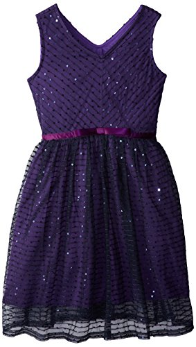 Speechless Big Girls' V-Neck Dress With Bow Waist, Navy/Purple, 16 front-649044