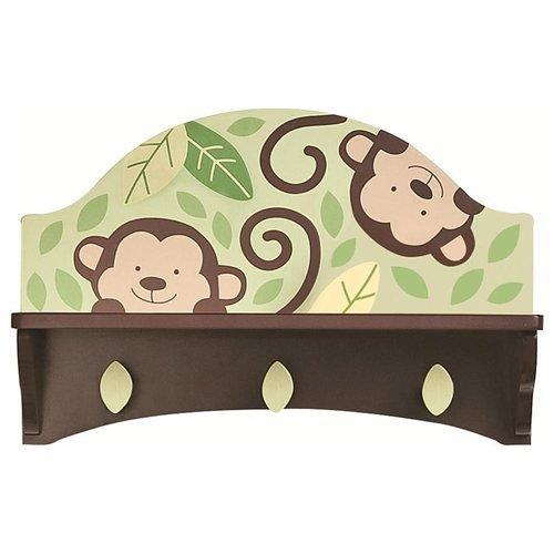 """Koala Baby Decorative Monkey Wall Shelf with Hooks for Keepsakes etc. 16.3""""x5.5""""x10.5"""" for Children's room Nursery Etc"""