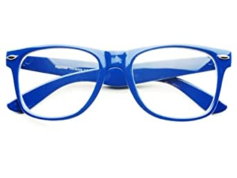 Bright Blue Glasses Frames : Amazon.com: New Bright Summer Party Geek Nerd Hip Clear ...