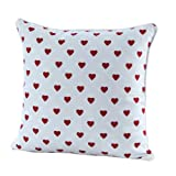 Homescapes - 100% Cotton - Love Hearts - Filled Large Cushion - 60 x 60 cm Square - 24 x 24 Inches - Red White - 100% Cotton - Cover Well Filled Pad - Washableby Homescapes
