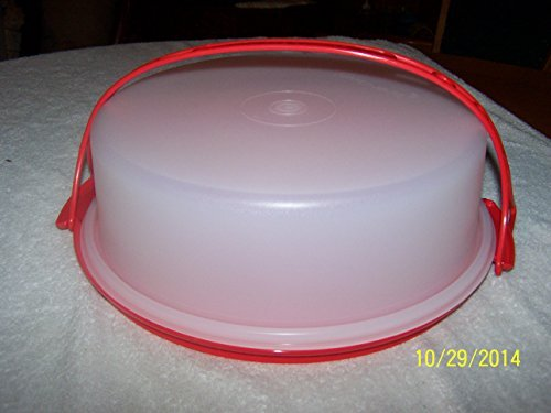 """Tupperware 10"""" Pie Carrier Fire Red Base and Cariolier Handle with Sheer 3"""" Top"""