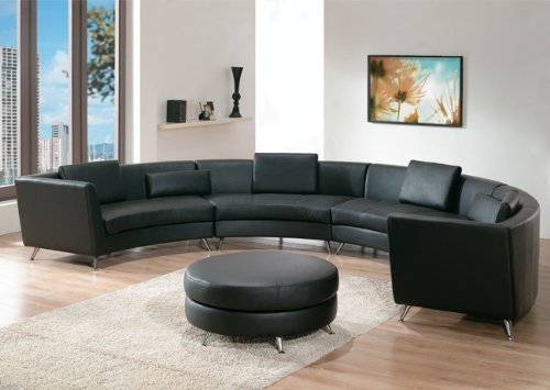 Exclusive Contemporary Furniture Black Leather Sectional Sofa with Ottoman & 5 Pillows