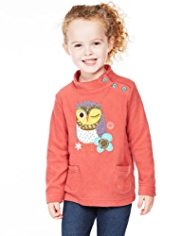 Owl Appliqué Fleece Sweat Top