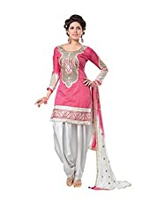 Feeldeal Chanderi Embroidered Semi-stitched Salwar Suit Dupatta Material