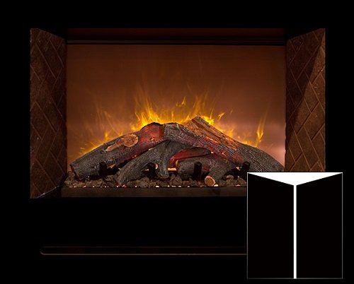 "Modern Flames Hf60Cbi Built In Electric Reflective Black Glass Panels 60"" Fireplace /W Log Burners"
