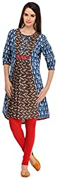 Aana Brown Aana Hand Block Printed Kurta