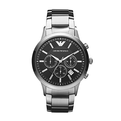 Emporio Armani Men's AR2434 Chronograph Stainless Steel Watch (Emporio Armani Black Dial compare prices)