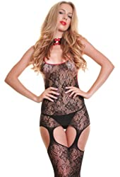 Angelina Fishnet Bodystocking with Attached Thigh High