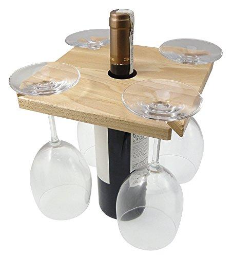 Wine Glass Rack - Elegant Wine Bottle Wood Hanging Holder for Stemmed Wine Glassware, Made in Italy, Solid Wood (Wood Wine Glass Hanging Rack compare prices)
