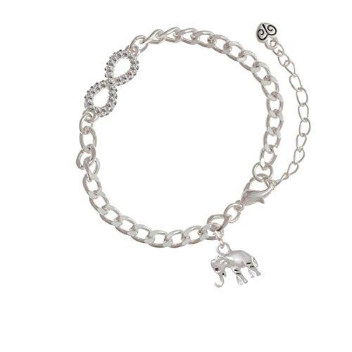 Silver Elephant Silver Crystal Infinity Bracelet