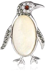 """Napier """"Giftables"""" Silver-Tone Penguin Pin"""