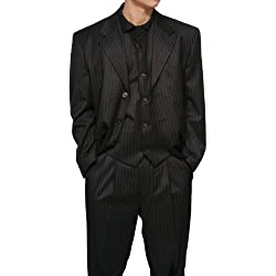 Funny product New Men's 3 Piece Black Gangster Pinstripe Dress Suit with Matching Vest