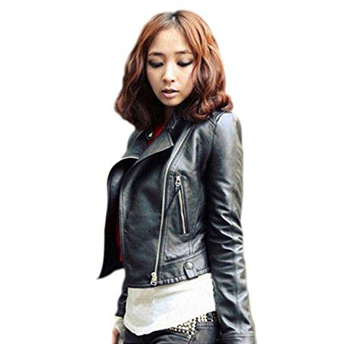 ETOSELL Retro Women Slim Biker Motorcycle Pu Leather Zipper Jacket Black S