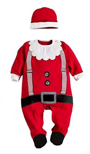 C-Princess ベビー服 ロンパース 新生児 長袖カバーオール ベビー サンタクロース 衣装 キッズ 新年 男女 クリスマス服 帽子セット 90 レッド