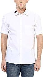 Y.U.V.I. Men's Cotton Slim Fit Casual Shirt (11113061-S, White, Small)