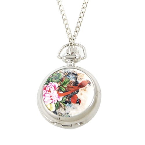 Rosallini Penoy Two Long Tail Red Bird Print Pocket Watch w Chain