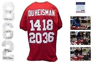 Oklahoma Heisman SIGNED Burgundy Jersey - - SIMS, WHITE, OWENS Autograph - PSA DNA...