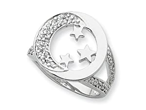 Sentimental Expressions(tm) Sterling Silver and CZ I Promise You the Moon and Stars Ring Size 7