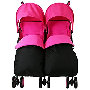 Zeta Citi TWIN Stroller Buggy Pushchair - Raspberry Pink Double Stroller Complete With FootMuffs And Bag from Baby TravelTM