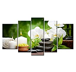 Youkuart9802 ,5panel Spa with Bamboo and Plumeria Wall Art Painting the Picture Print on Canvas -Flower Pictures for Home Decor (Bamboo&plumeria)