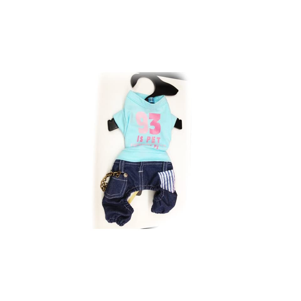 Pet Dog Clothing Cute One Piece Blue Shirt and Jean. Many Sizes Available